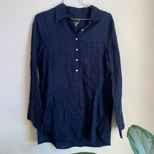 NWT Lily Pulitzer Deanna Popover Shirt in Navy